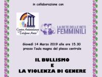 """Incontro di formazione su """"Il bullismo e la violenza di genere"""""""